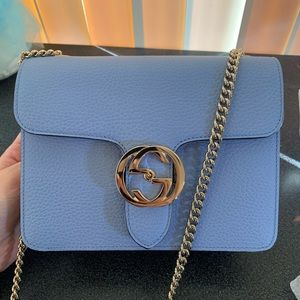 💙NEW Gucci  Leather Chain Crossbody Bag